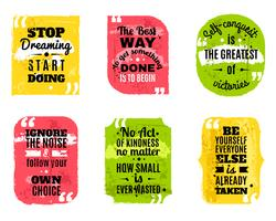 Famous quotes colored textured icons set