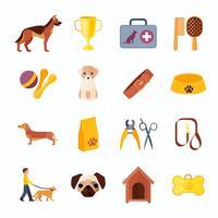 Conjunto de iconos planos de perros y accesorios.