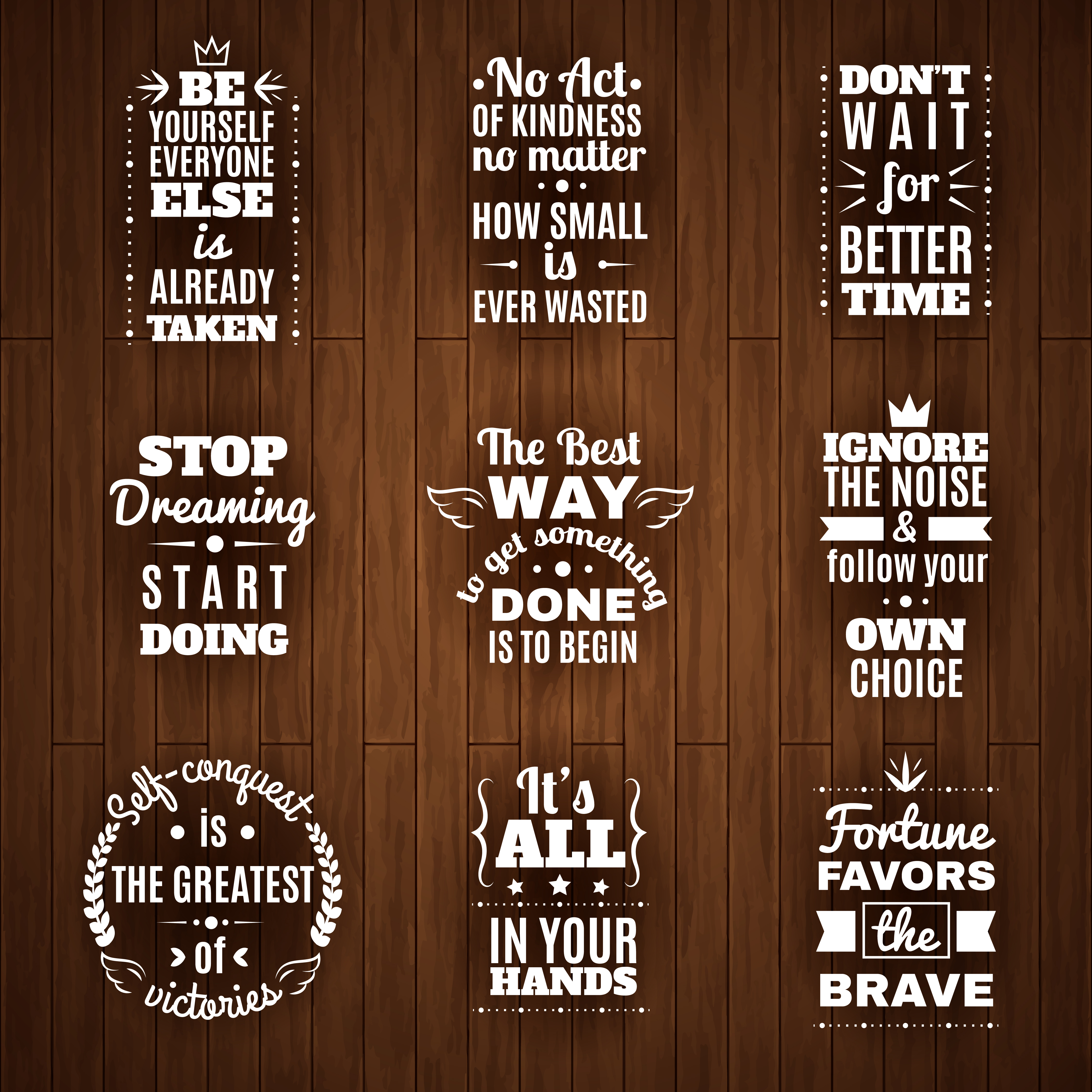 Daily Wisdom And Motivation Quotes Set Download Free Vector Art