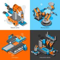 Conjunto de robôs industriais