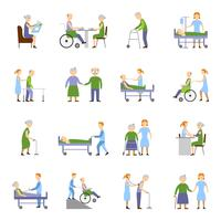 Nursing Elderly People Icons Set