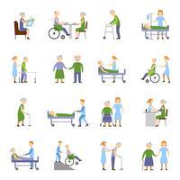 Nursing Elderly People Icons Set