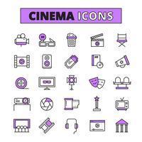 Cinema symbols outlined icons set