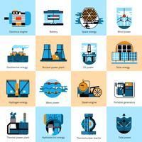 Conjunto de iconos de línea plana de producción de energía