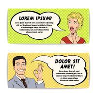 Conjunto de banners de cómics hombre y mujer