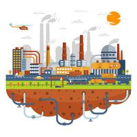 Industrial City Concept With Chemical Plants vector