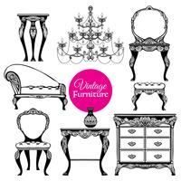 Hand Drawn Vintage Furniture Style Set