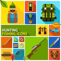 Hunting and fishing icons set