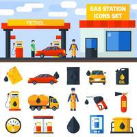 Banner de coleção de ícones de posto de gasolina de gás