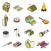 Sats av vandring och camping ikoner