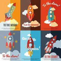 Cartaz de composição de banners plana foguete vintage