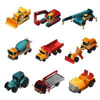Isometric Construction Machines vector