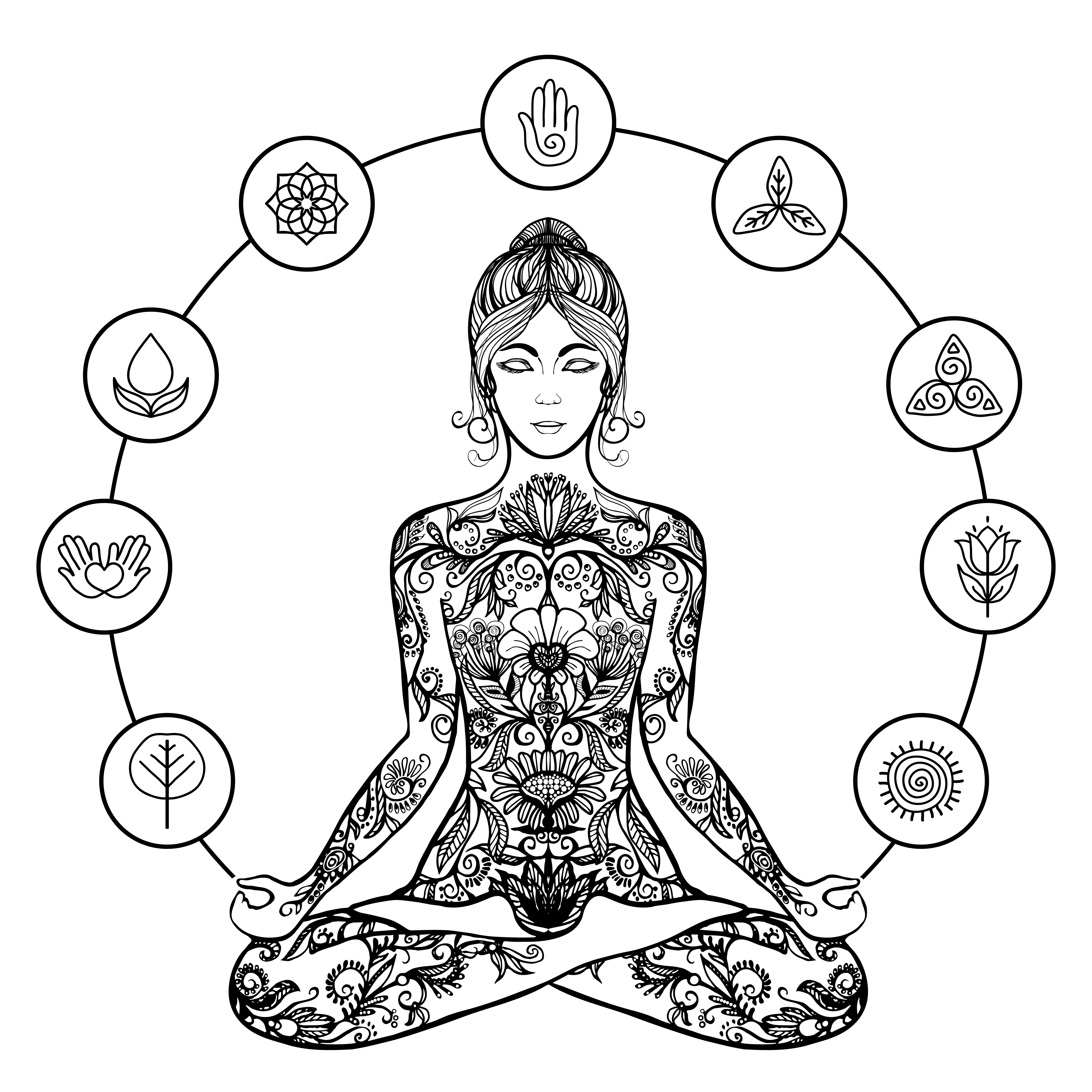 Decorative Lotus Yoga Woman Black Icon Download Free Vectors Clipart Graphics Vector Art