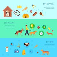 Dog 3 flat horizontal banners set vector