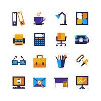 Icone isolate ufficio colore impostato