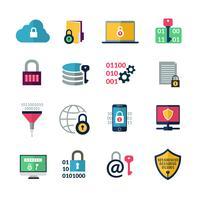 Icone di crittografia dei dati