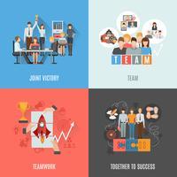 Composition carrée de travail d'équipe 4 icônes plat