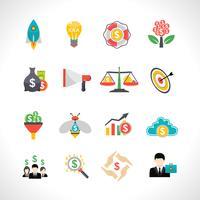 Flache Ikonen des Start-Crowdfunding eingestellt