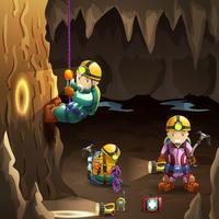 Spéléologues dans une affiche de fond 3d de cave