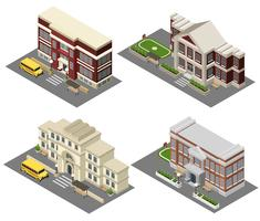 École isométrique Icons Set