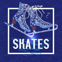 Decorative ice skates doodle stile icon