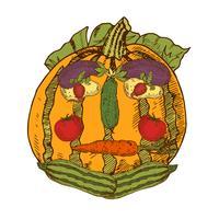 Bodegón con verduras de jardín en forma de rostro humano