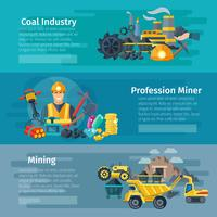 Mining Horizontal Banner Set vector