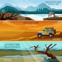Nature landscapes travel flat banners set vector