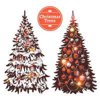 Conjunto de árvore de Natal de mão desenhada