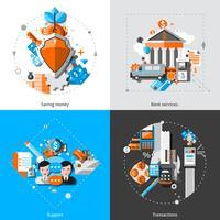 Icone di concetto di attività bancarie