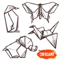 Ensemble de figurines en origami dessinées à la main