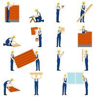 Conjunto de pessoas de construtores