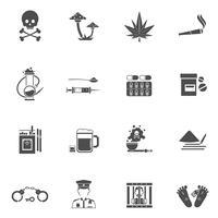 Conjunto de ícones brancos pretos de drogas