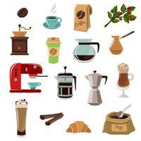 kaffe retro platta ikoner uppsättning
