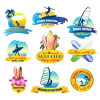 Surfing emblems set