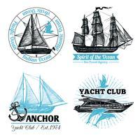 Conjunto de etiquetas marinas