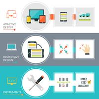 Adaptive Responsive Web Design Banner Set vector