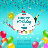 Happy birthday celebration background poster vector