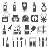 Icone nere degli accessori di bellezza di trucco messe