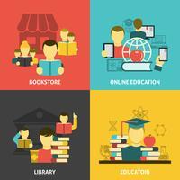 Utbildning läsa platt ikoner kvadrat banner