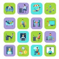 Set di icone di colore piatto freelance