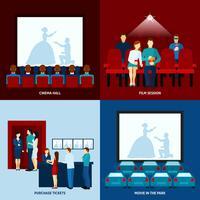 Filme de cinema 4 ícones lisos quadrados