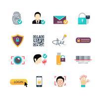 Verifiering säkra metoder platta ikoner inställda