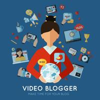 Blogger Flat Illustration