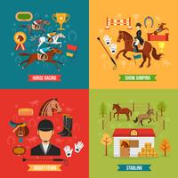 Horse Riding Design Concept Set