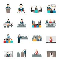 Conjunto de ícones de falar em público