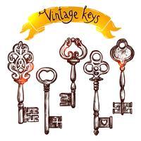 Vintage Skizze Schlüssel