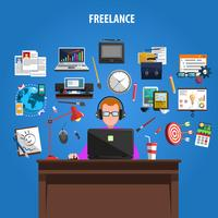 Freelance concept pictograms composition poster