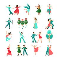 Verschillende stijl dansende man pictogrammen