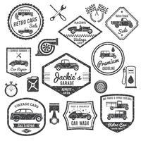 Retro Car Label Schwarz Set